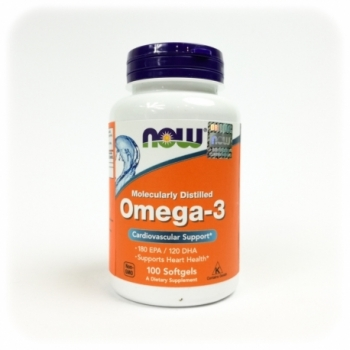 Omega-3 (180mg EPA/120mg DHA 100 kps. - NOW